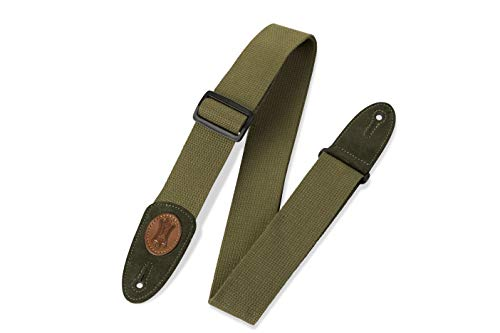 2 Inch Guitar Strap Green - Levy's Leathers MSSC8-GRN Signature Series Cotton Guitar Strap, Green