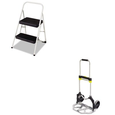 KITCSC11135CLGG1SAF4062 - Value Kit - Safco Stow-Away Medium Hand Truck (SAF4062) and Cosco 2-Step Folding Steel Step Stool (CSC11135CLGG1)