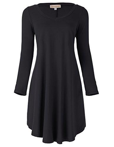 Student Dress (Leisure V-neck Simple T-shirt Dress for Student (M,Black))