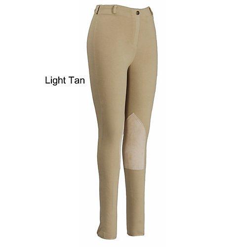 (TuffRider Women's Pull-On Knee Patch Breeches, Black, 28)