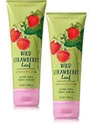 Body Leaves Cream (Bath and Body Works 2 Pack Wild Strawberry Leaf Ultra Shea Body Cream. 8 Oz)