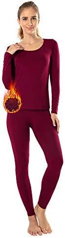 MANCYFIT Thermal Underwear for Women Long Johns Set Fleece Lined Ultra Soft Scoop Neck