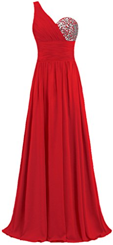 Dresses Chiffon Evening One Women's Gowns Prom Red Shoulder Long ANTS ZRnTxff