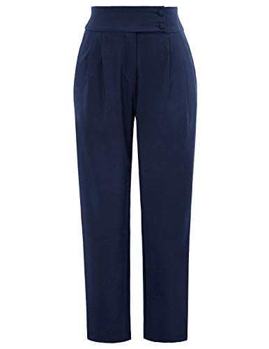 GRACE KARIN Womens Casual Business Dress Pants Ankle Cropped Pant Tummy Control Navy XL