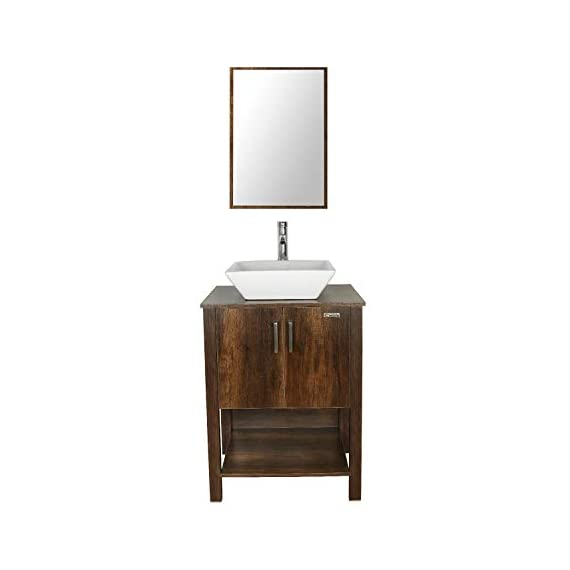 "eclife 24"" Bathroom Vanity Sink Combo Brown Cabinet Modern Stand Pedestal W/Square White Ceramic Vessel Sink, Chrome Bathroom Solid Brass Faucet and Pop Up Drain Combo, W/Mirror (A07 B12C) - ❤WATER SAVE: 1.5 GPM faucet aerator help to save 30% water; 3/8'' Connector Hot/Cold Water supply hose; 23-5/8"" Long water supply lines; Durable Chrome faucet; Pop up drain. ❤ECO-FRIENDLY: MDF eco-friendly material used to make vanity more durable and sturdy; 15mm Thickness and smooth surface board, easy to clean and wear-resistance. ❤EASY to INSTALL: Need to be self-assemble, delicate design make it easy to assemble; Small body includes maximized storage, more convenient and flexible for you to use. - bathroom-vanities, bathroom-fixtures-hardware, bathroom - 31CdlIDgOJL. SS570  -"