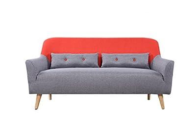 Mid-Century Modern Two Tone Linen Fabric Sofa
