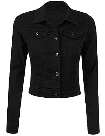 Grabsa Women's Classic Casual Vintage Cropped Denim Jean Jacket/Vest Regular & Plus Size Black