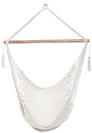 Handmade Hanging Rope Hammock Chair – 100 Handmade with Natural Cotton Swing Seat – Socially Positive White