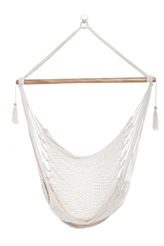 Handmade Hanging Rope Hammock Chair - 100% Handmade With Organic Cotton Swing Seat - Socially Positive! (White)