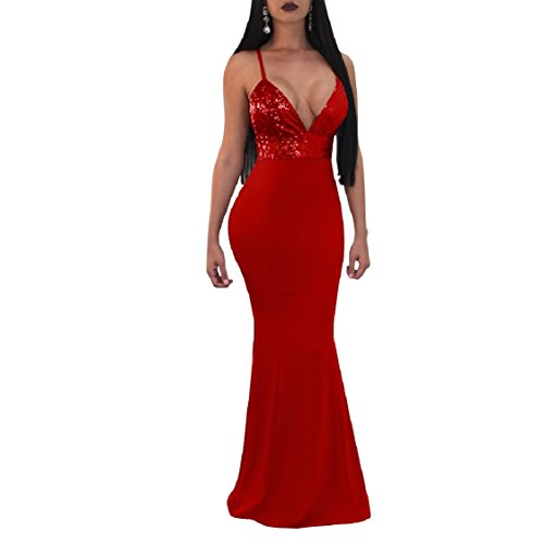 V Club Deep Sexy Red Sling Sequin Coolred Evening Neck Backless Dresses Women Splice 8x0nv