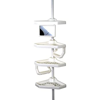 Amazon.com: ZPC 5104W Mirror Tub & Shower Tension Pole Caddy - White ...