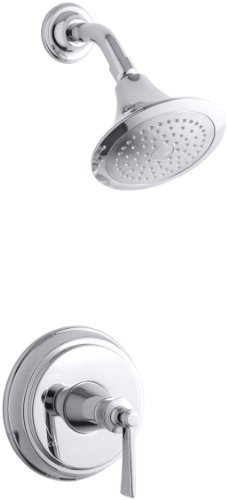 (KOHLER TS11078-4-CP Archer(R) Rite-Temp(R) shower valve trim with lever handle and 2.5 gpm showerhead, Polished Chrome)