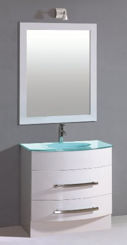Luxo Marbre Mirabel 3221 W Mirabel Vanity With Tempered Glass Sink White Furniture Cabinets