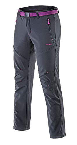 Tofern Womens Winter Warm Breathable Waterproof Windproof Softshell Pants Outdoor Hiking Climbing Camping Cycling Trousers, Grey-New US L