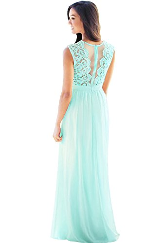 MisShow Women Sleeveless Lace Top Long Chiffon Bridesmaid Wedding Guest Dress US14 Mint Green