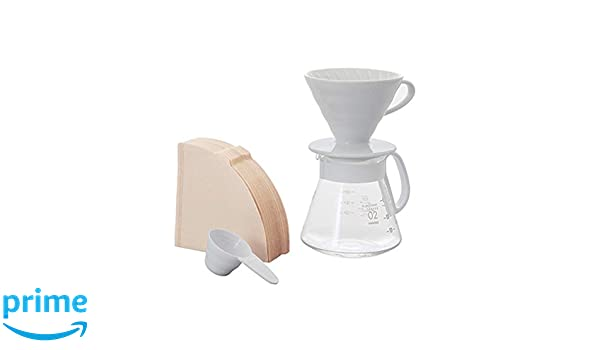 Hario vierta sobre cafetera V60 goteo de cerámica, color blanco ...