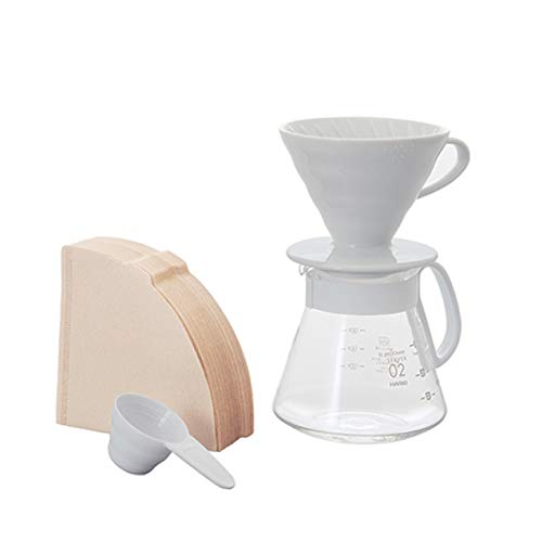 Hario V60 Pour Over Starter Set with Coffee Dripper, Pot, Scoop and Filters, Size 02, White