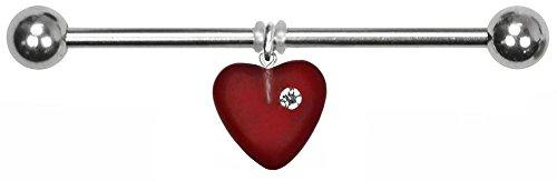 BodySparkle Body Jewelry Juliet Heart Industrial Barbell-16g-32mm-Czech Glass Heart Dangle Industrial Bar -Red