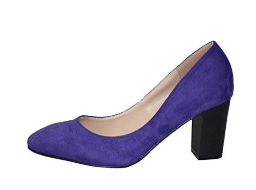 Shoes Women's purple Sexy Dress Heel High Genuine Pointed Toe velveteen Chunky Pump q1xUSwqa
