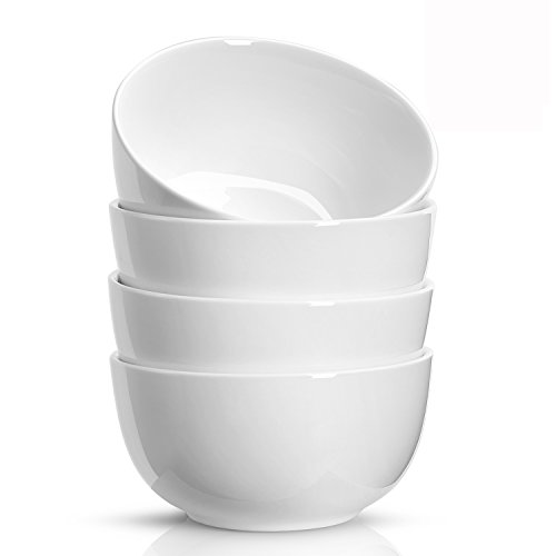 n Bowls - 22 Ounce for Cereal, Soup, Rice, Salad - Set of 4, White (White Soup Cereal Bowl)
