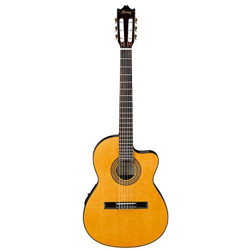 Ibanez GA Series GA5TCE Thinline Classical Acoustic-Electric Guitar Natural (Ibanez Nylon Cutaway Guitar)