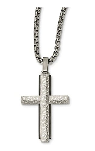 Edward Mirell Sterling Silver Black Titanium Hammered Cross Necklace, 20