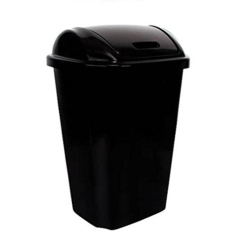 BLOSSOMZ Hefty Swing-Lid 13.5-Gallon Trash Can (13.5 Gallon, Black) (13.5 Gallon) BLZ-13342