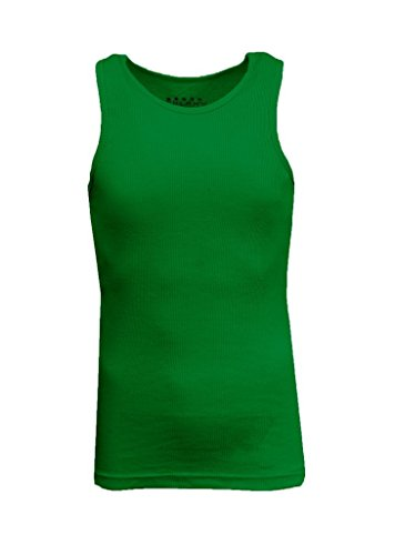 Kelly Ribbed Green (Galaxy by Harvic Ribbed Tank Tops For Men - Single and 3-Pack - Kelly Green, Size Medium)