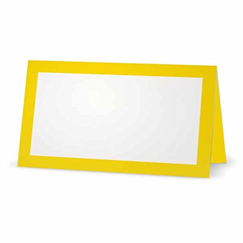 Yellow Place Cards - Flat or Tent - 10 or 50 Pack - White Blank Front with Solid Color Border - Placement Table Name Seating Stationery Party Supplies - Occasion or Dinner Event (10, Tent Style)