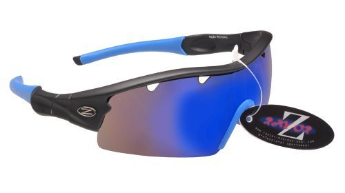 RayZor Professional Lightweight UV400 GunMetal Grey Sports Wrap Golf Sunglasses, With a 1 Piece Vented Blue Iridium Mirrored Anti-Glare Lens. by Rayzor