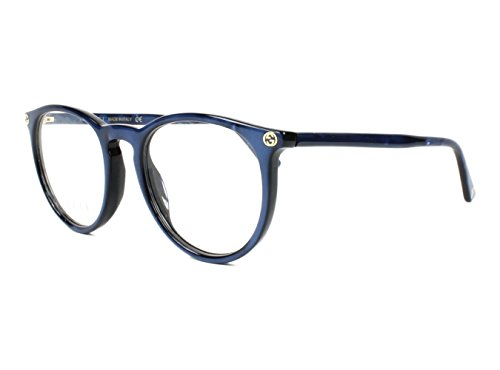 Gucci GG 0027O 005 Blue Plastic Round Eyeglasses - Gucci Glasses Round