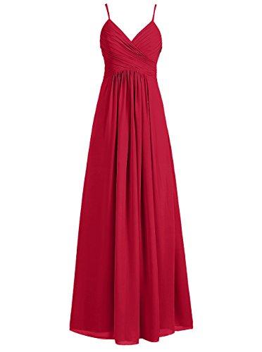Dresstells®Vestido Largo Con Tirantes Finos De Gasa Vestido De Fiesta De Madrina Rojo Oscuro
