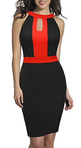 REPHYLLIS Women's Hlater Sleeveless Business Summer Party Pencil Dress Red S by REPHYLLIS