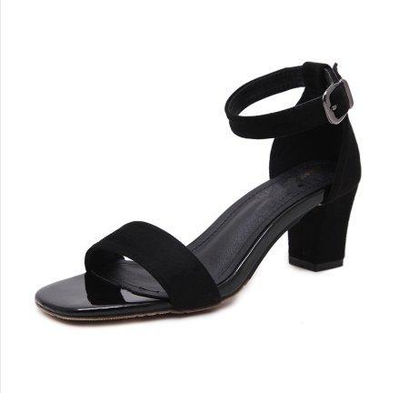 Heel Sandales Toe Fendue Sangle Avec High De L'Dew SHOESHAOGE Shoes Chaussures Épais EU34 Femme Femmes AqdTxnwX7