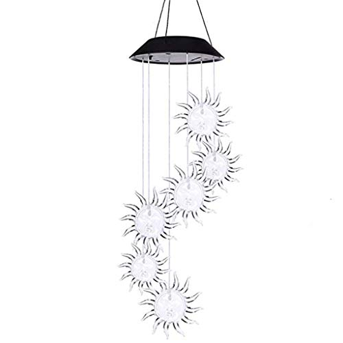 - NszzJixo9 Ball Wind Chime Light Black Shell Particle Heart Fly Wind Chime Ligh - Solar Powered LED Garden Hanging Spinner Lamp Color Changing
