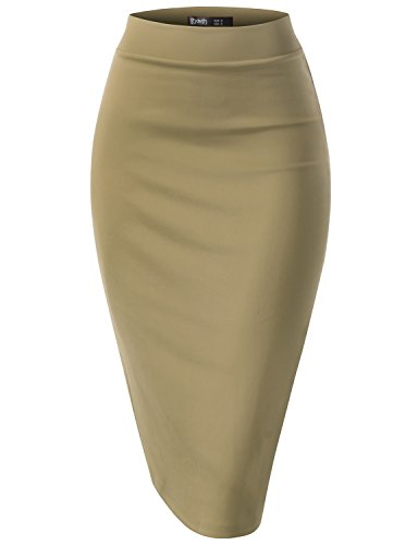 Stretch Taffeta Skirt (TWINTH Women Stretch Knit Midi Bodycon Pencil Skirt for Work Party KHAKI M)