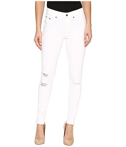 HUE Women's Ripped Knee Denim Leggings, White, S ()