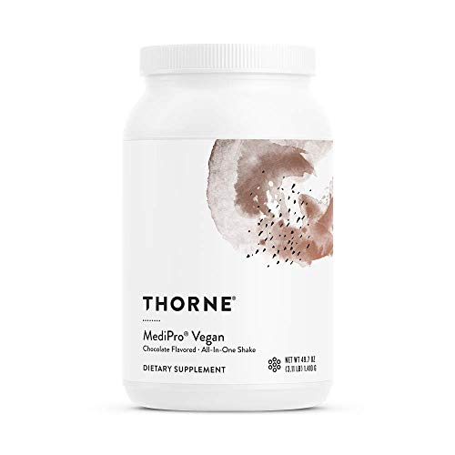 Thorne Research – MediPro Vegan All-in-One Shake – Vegetable-Based Protein Powder – 22 g Protein, 6 g Fiber, Non-GMO Ingredients – Chocolate Flavor – 49.7 oz.
