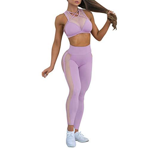 (Women 2 Piece Outfits Crop Top Long Pants Leggings Yoga Set Tracksuits Active Wear Mesh Gym Yoga Clothing Set)
