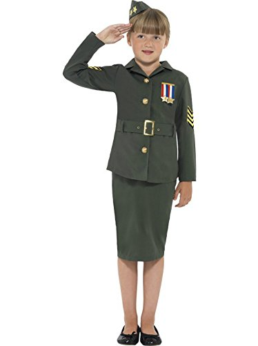 Smiffy's Big Girls' Ww Army Fancy Dres Costume Ages 10-12 Years Green - World War 2 Fancy Dress Costumes