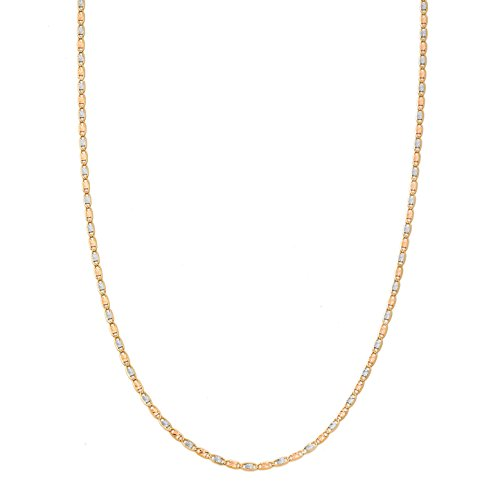 - LoveBling 14K Tricolor Gold 1.5mm Solid Diamond Cut Valentino Chain Necklace with Spring Clasp (18