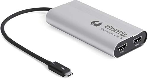 Plugable Thunderbolt 3 to Dual HDMI 2.0 Display Adapter Compatible with MacBook Pro Systems (2019\2018\2017), and Dell XPS. Project or Stream to Up to 2X 4K 60Hz Monitors (Thunderbolt 3 Certified) (Best Engineering Laptops 2019)