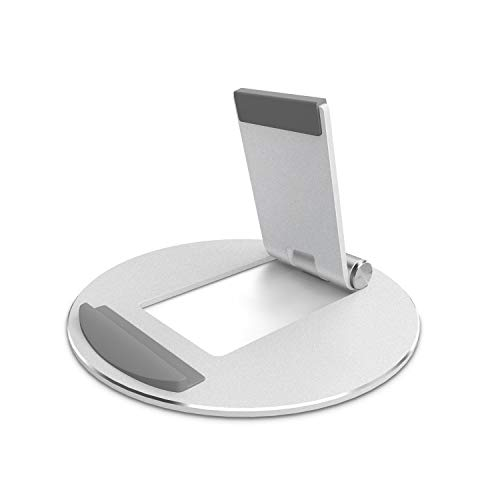 OMOTON Adjustable Tablet Stand, Aluminum Desktop Tablet Cellphone Stand with Anti-Slip Base, Portable Stands and Holder for iPad Tablet, Samsung Tab, E-Reader and Cellphones, Silver
