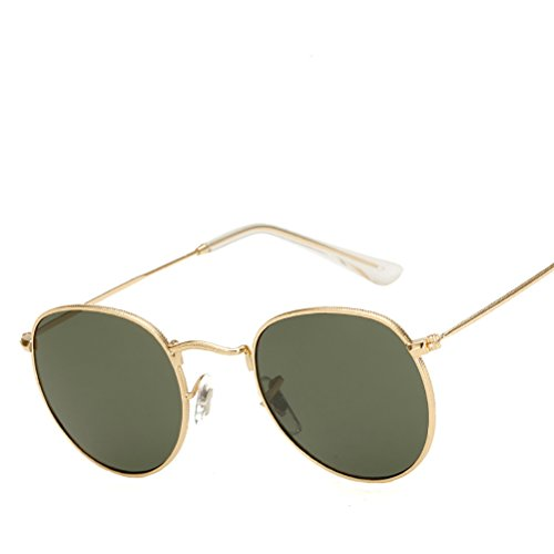 Women soleil Sunglasses Classic Gold Frame Glasses Men Vintage Polarized for Case Personality Lens lunettes Round Dark de des Zhhyltt with Green q1x8Ztw