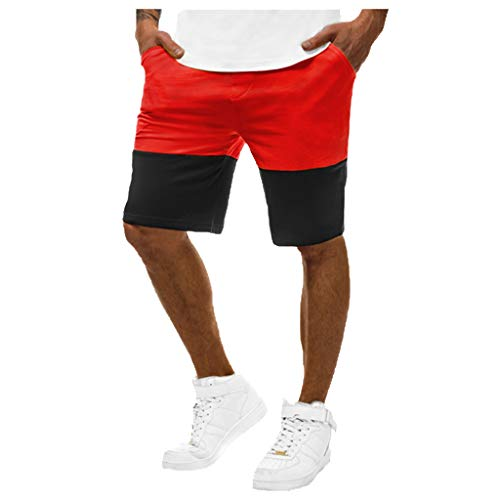 LUCAMORE Men's Summer Casual Straight Comfort Sports Slim Color Matching Jogging Five Points Shorts Red