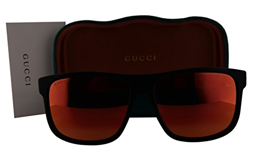 Gucci GG0010S Sunglasses Shiny Black w/Red Mirror Lens 002 GG - Sunglasses Rx Gucci