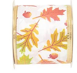 Autumn Fall Leaves ~ Wired Edge Ribbon ~ 2.5