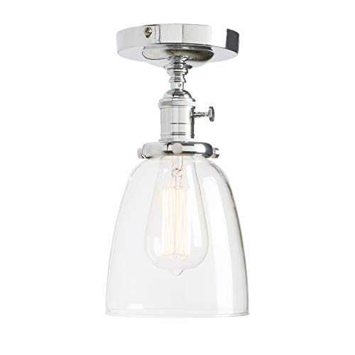 Cone Glass Shade - Permo Vintage Industrial Semi Flush Mount Ceiling Light Fixture Pendant Lighting with Oval Cone Clear Glass Shade (Chrome)