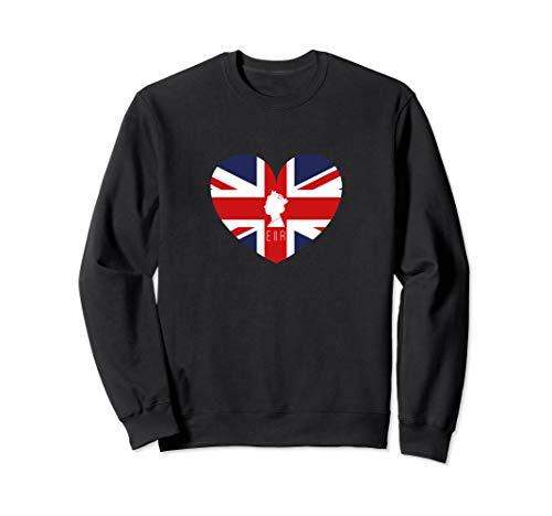 Queen Elizabeth II British Flag Heart Sweatshirt