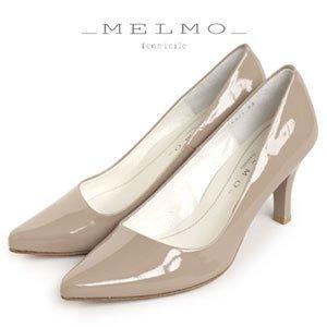 DBEGE,ダークベージュエナメル 23.0 MELMO 靴 メルモ エナメル パンプス ベージュ 6921,DBEGE ヒール